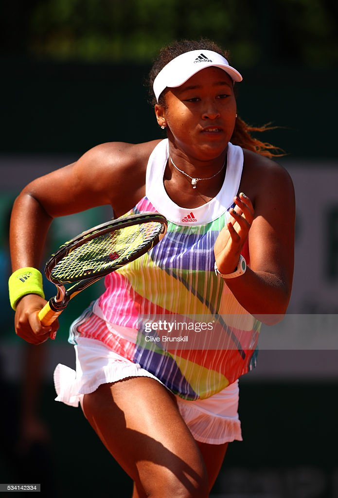 <a gi-track='captionPersonalityLinkClicked' href=/galleries/search?phrase=Naomi+Osaka&family=editorial&specificpeople=13424660 ng-click='$event.stopPropagation()'>Naomi Osaka</a> of Japan in action during the Ladies Singles second round match against Mirjana Lucic-Baroni of Croatia at Roland Garros on May 25, 2016 in Paris, France.