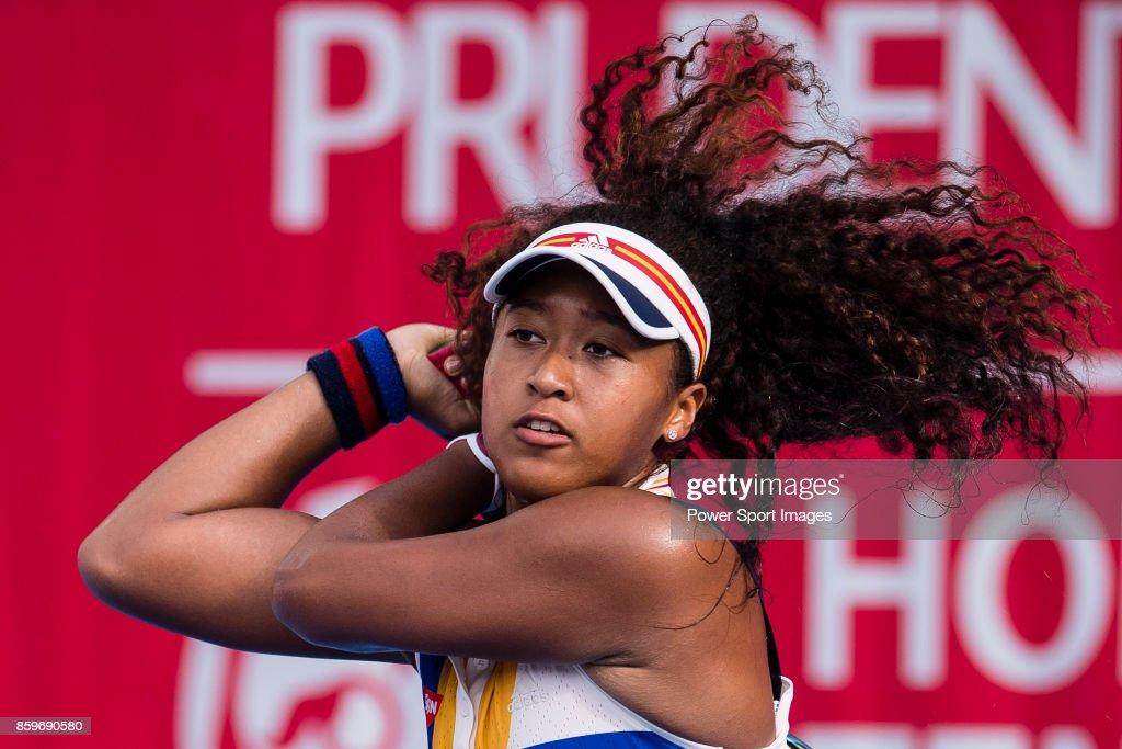Naomi Osaka of Japan in action during the Prudential Hong Kong Tennis Open 2017 match between Naomi Osaka of Japan and Alexa Guarachi of Chile at Victoria Park on October 10, 2017 in Hong Kong, Hong Kong.