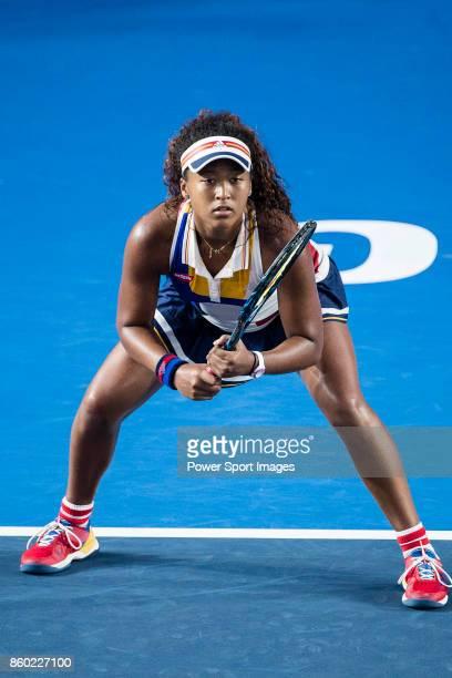 Naomi Osaka of Japan in action during the Prudential Hong Kong Tennis Open 2017 match between Naomi Osaka of Japan and Venus Williams of USA at...