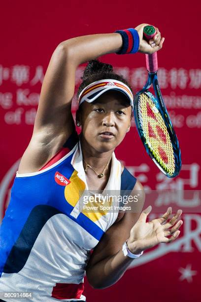 Naomi Osaka of Japan in action during the Prudential Hong Kong Tennis Open 2017 match between Naomi Osaka of Japan and Anastasia Pavlyuchenkova of...