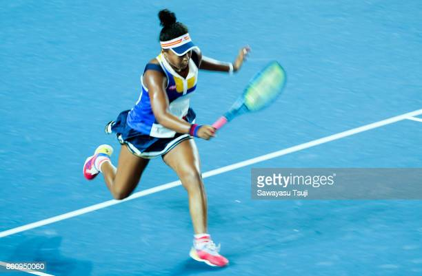 Naomi Osaka of Japan in action during the Prudential Hong Kong Tennis Open 2017 Quarterfinal match between Naomi Osaka of Japan and Anastasia...