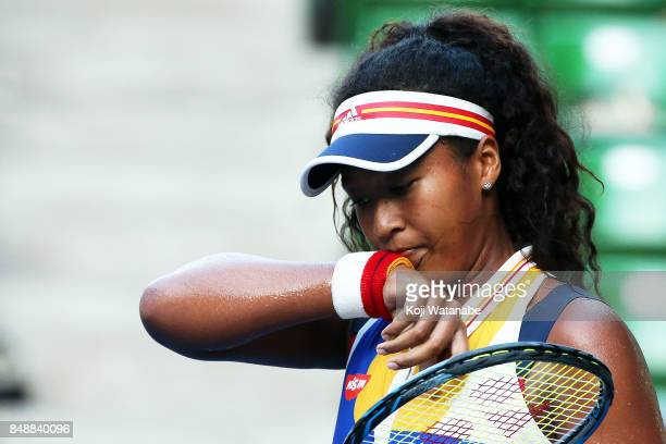 Naomi Osaka of Japan in action in her match against Angelique Kerber of German during women's singles match day one of the Toray Pan Pacific Open...
