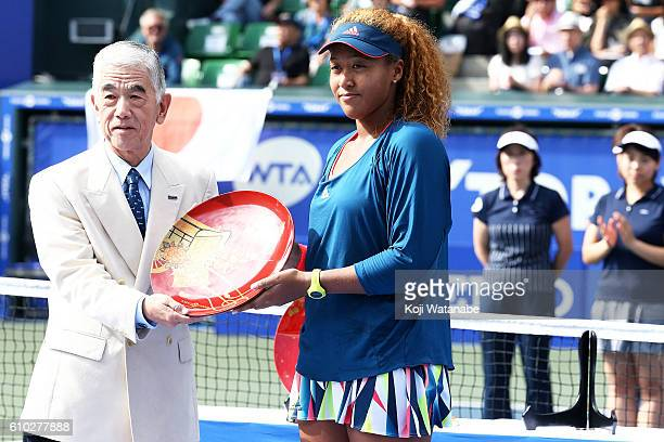 Naomi Osaka of Japan looks on during women's singles Final match day 7 of the Toray Pan Pacific Open at Ariake Colosseum on September 25 2016 in...