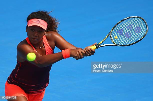 Naomi Osaka of Japan plays a backhand in the women's single's match against Jarmila Wolfe of Australia during day two of the 2016 Hobart...