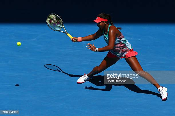 Naomi Osaka of Japan plays a forehand in her third round match against Victoria Azarenka of Belarus during day six of the 2016 Australian Open at...