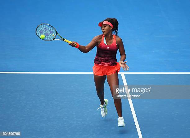 Naomi Osaka of Japan plays a forehand in the women's single's match against Jarmila Wolfe of Australia during day two of the 2016 Hobart...