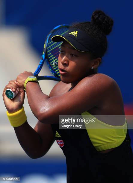 Naomi Osaka of Japan plays a shot against Karolina Pliskova of Czech Republic during Day 6 of the Rogers Cup at Aviva Centre on August 10 2017 in...