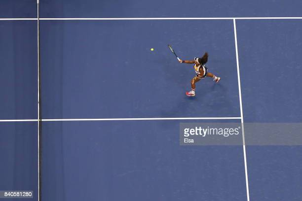 Naomi Osaka of Japan reacts against Angelique Kerber of Germany during their first round Women's Singles match on Day Two of the 2017 US Open at the...