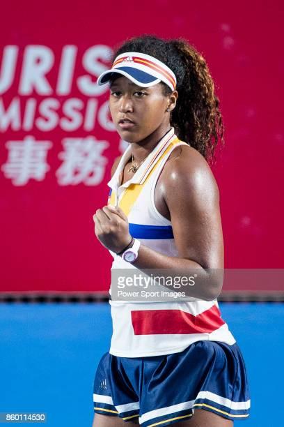 Naomi Osaka of Japan reacts during the Prudential Hong Kong Tennis Open 2017 match between Naomi Osaka of Japan and Venus Williams of USA at Victoria...