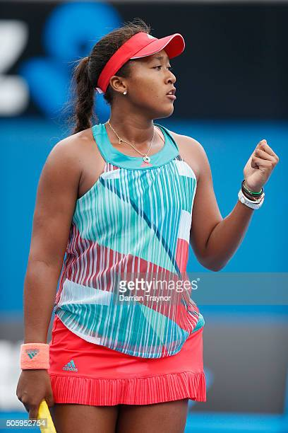Naomi Osaka of Japan reacts in her second round match against Elina Svitolina of Ukraine during day four of the 2016 Australian Open at Melbourne...