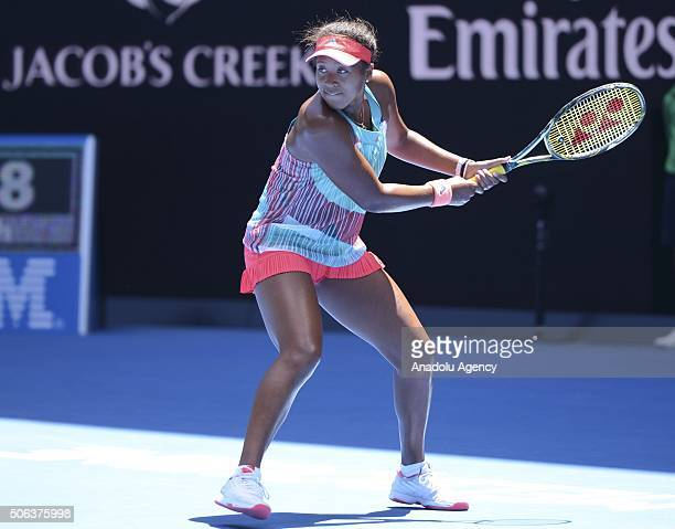 Naomi Osaka of Japan returns the ball to Victoria Azarenka of Belarus during a match on the day six of the 2016 Australian Open at Melbourne Park on...