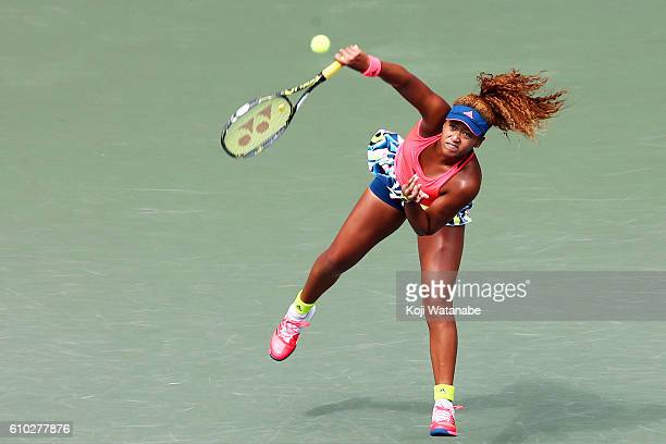 Naomi Osaka of Japan saves on Caroline Wozniacki of Denmark during women's singles Final match day 7 of the Toray Pan Pacific Open at Ariake...