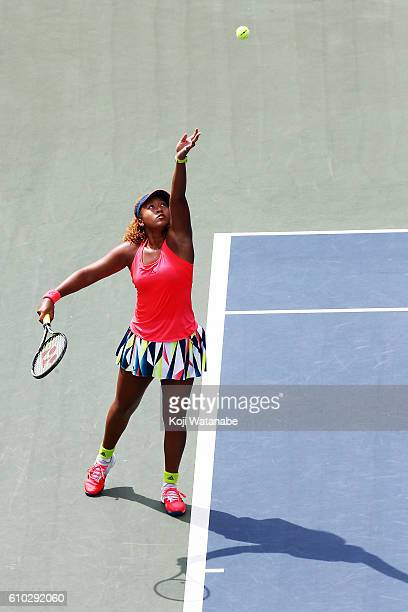 Naomi Osaka of Japan saves on Caroline Wozniacki of Denmark during women's singles Final match day 7 of the Toray Pan Pacific Open at Ariake...