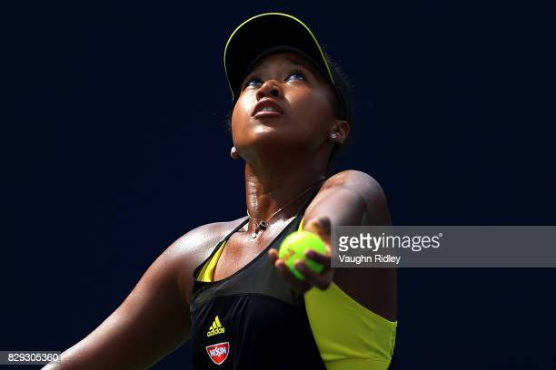 Naomi Osaka of Japan serves against Karolina Pliskova of Czech Republic during Day 6 of the Rogers Cup at Aviva Centre on August 10 2017 in Toronto...