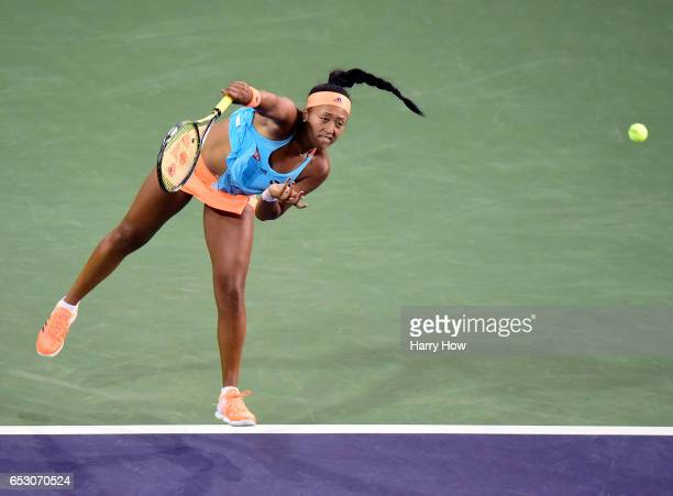 Naomi Osaka of Japan serves in her loss to Madison Keys during the BNP Paribas Open at Indian Wells Tennis Garden on March 13 2017 in Indian Wells...