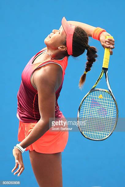 Naomi Osaka of Japan serves in her match against Alexandra Panova of Russia during round two of 2016 Australian Open Qualifying at Melbourne Park on...