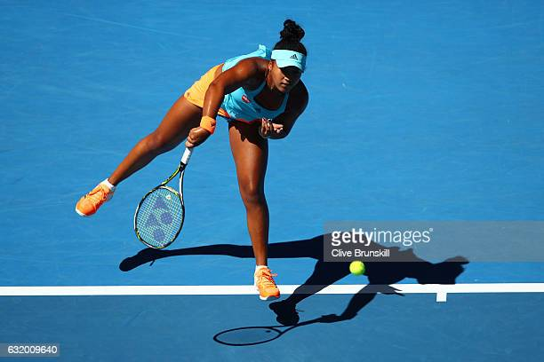 Naomi Osaka of Japan serves in her second round match against Johanna Konta of Great Britain on day four of the 2017 Australian Open at Melbourne...
