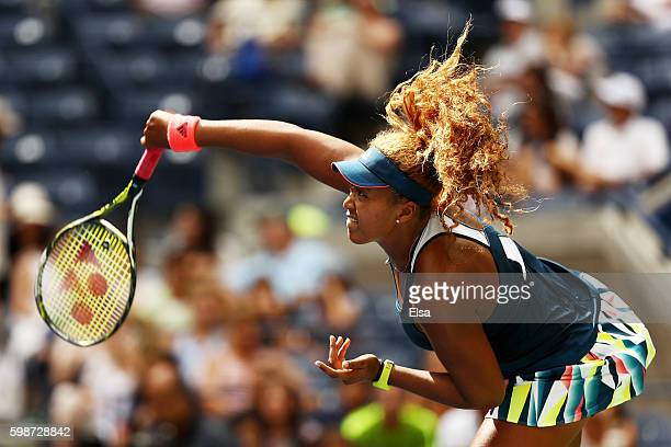 Naomi Osaka of Japan serves to Madison Keys of the United States during her third round Women's Singles match on Day Five of the 2016 US Open at the...