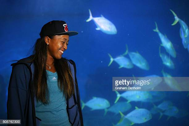 Naomi Osaka of Japan smiles as she visits Melbourne Aquarium during day three of the 2016 Australian Open at Melbourne Park on January 20 2016 in...