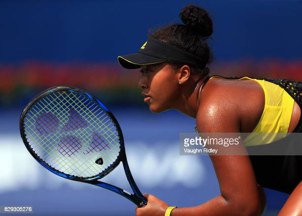 Naomi Osaka of Japan waits for a serve against Karolina Pliskova of Czech Republic during Day 6 of the Rogers Cup at Aviva Centre on August 10 2017...