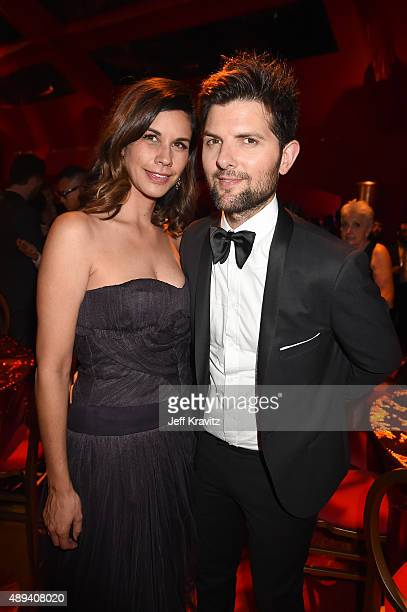 Naomi Scott and actor Adam Scott attend HBO's Official 2015 Emmy After Party at The Plaza at the Pacific Design Center on September 20 2015 in Los...