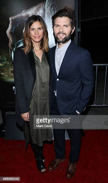 Naomi Scott and Adam Scott attend the screening of Universal Pictures' 'Krampus' held at ArcLight Cinemas on November 30 2015 in Hollywood California