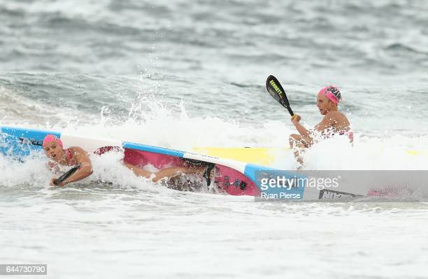 Naomi Scott and Lizzie Welborn compete during the ski leg during the Round One Enduro during the Nutri Grain IronMan and IronWoman Finals at Cronulla...