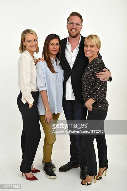 Naomi Scott Taylor Schilling Patrick Brice and Judith Godreche from 'The Overnight' appear at the 2015 Tribeca Film Festival Getty Images Studio on...