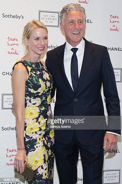 Naomi Watts and David Kratz attend 2013 'Take Home A Nude' Benefit Art Auction And Party at Sotheby's on October 8 2013 in New York City