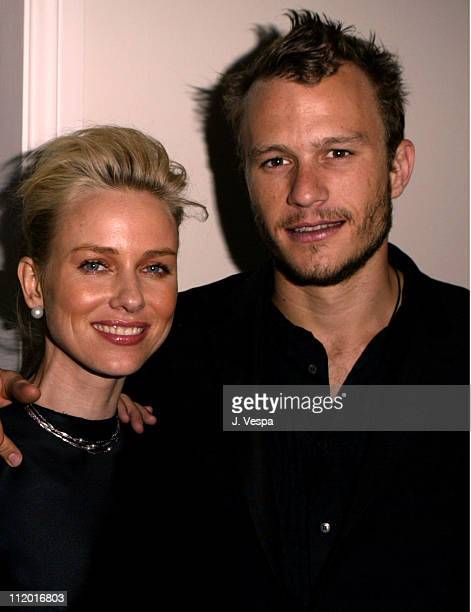 Naomi Watts and Heath Ledger during Lions Gate Celebrates the Acquisition of Artisan Entertainment in Los Angeles California United States