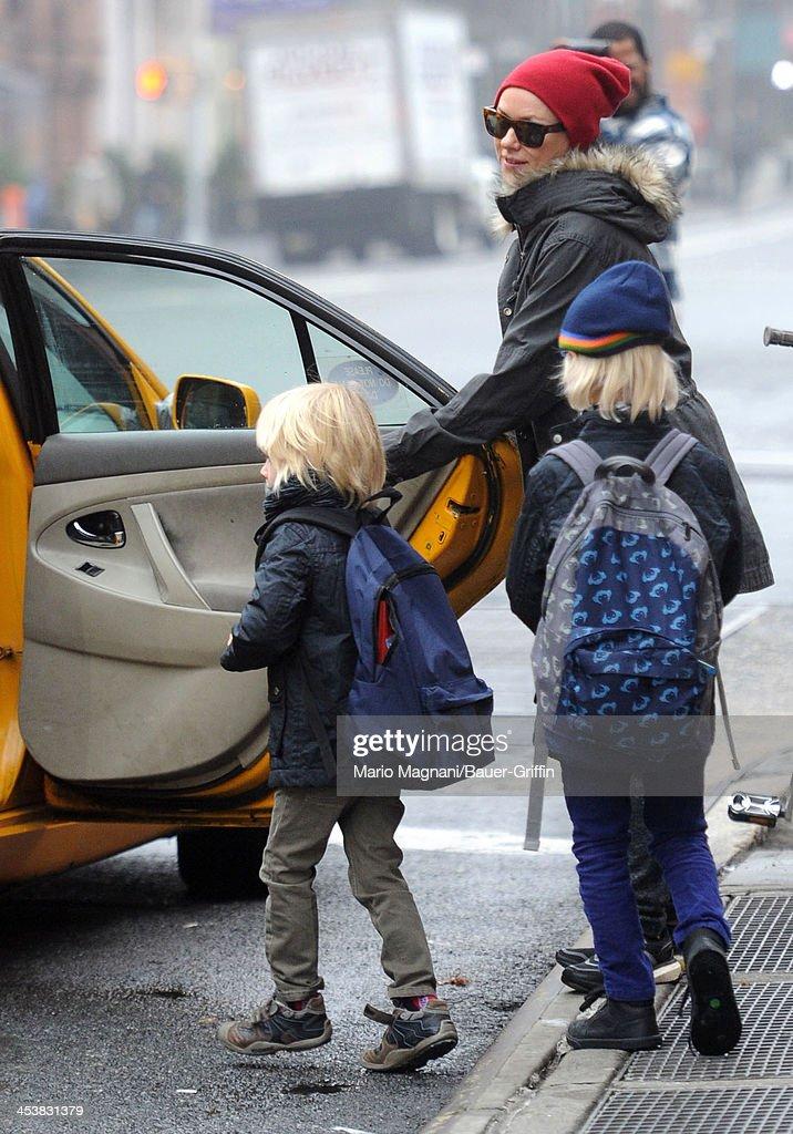 Naomi Watts and her sons, Sasha Schreiber and Samuel Schreiber are seen on December 05, 2013 in New York City.