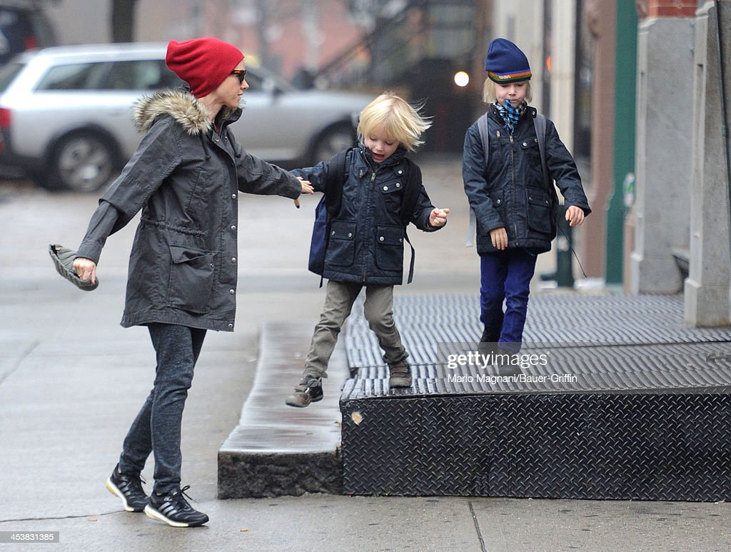<a gi-track='captionPersonalityLinkClicked' href=/galleries/search?phrase=Naomi+Watts&family=editorial&specificpeople=171723 ng-click='$event.stopPropagation()'>Naomi Watts</a> and her sons, Sasha Schreiber and Samuel Schreiber are seen on December 05, 2013 in New York City.