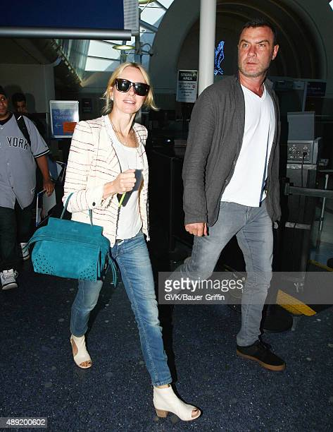 Naomi Watts and Liev Schreiber are seen at LAX on September 19 2015 in Los Angeles California