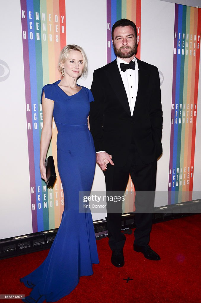 Naomi Watts and Liev Schreiber pose for photographers during the 35th Kennedy Center Honors at the Kennedy Center Hall of States on December 2, 2012 in Washington, DC.