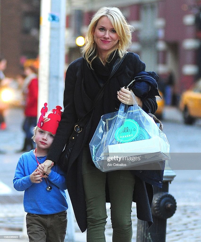 Naomi Watts and Samuel Kai Schreiber are seen in the East Village on December 13, 2012 in New York City.