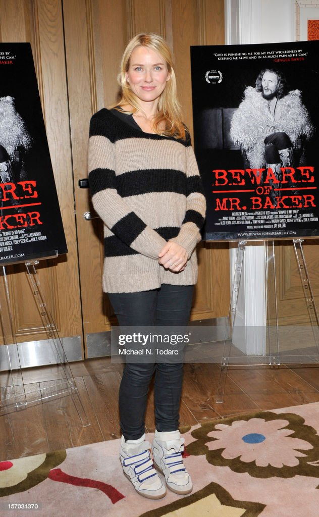 Naomi Watts attends the 'Beware of Mr Baker' screening at the Crosby Street Hotel on November 27 2012 in New York City