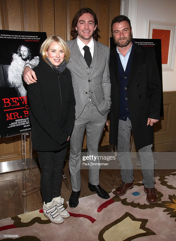 Naomi Watts director/producer Jay Bulger and Liev Schreiber attend 'Beware Of Mr Baker' New York Screening at Crosby Street Hotel on November 27 2012...