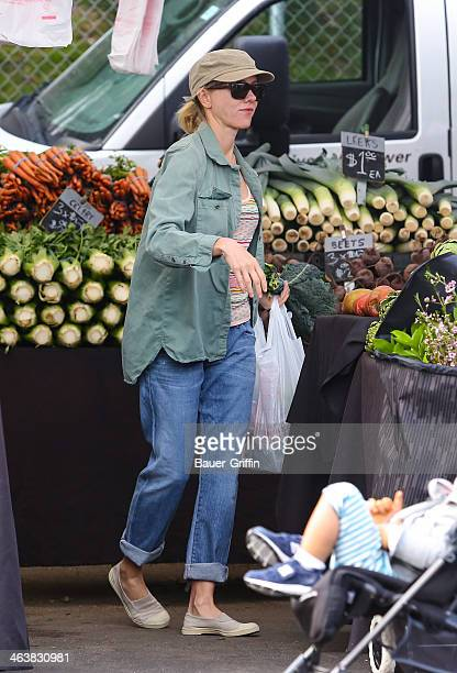 Naomi Watts is seen shopping at her local farmers market on January 19 2014 in Los Angeles California