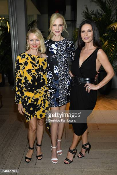 Naomi Watts Nicole Kidman and Catherine ZetaJones pose backstage at Michael Kors Collection Spring 2018 Runway Show at Spring Studios on September 13...