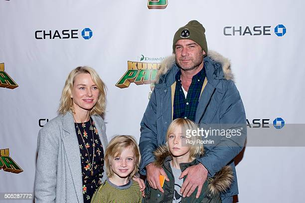 Naomi Watts Samuel Kai Schreiber Alexander Pete Schreiber and Liev Schreiber attend the 'Kung Fu Panda 3' New York screening at AMC Loews Kips Bay 15...