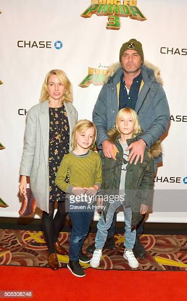 Naomi Watts Samuel Schreiber Alexander Schreiber and Liev Schreiber attend a screening of 'Kung Fu Panda3' at AMC Loews Kips Bay 15 theater on...