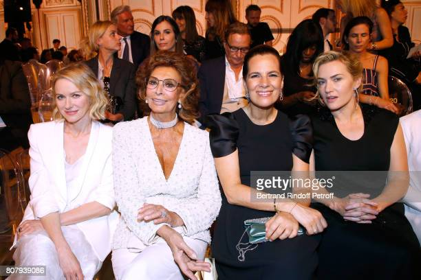 Naomi Watts Sophia Loren Roberta Armani and Kate Winslet attend the Giorgio Armani Prive Haute Couture Fall/Winter 20172018 show as part of Haute...
