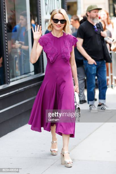 Naomi Watts wears a purple dress at AOL Build on June 29 2017 in New York City