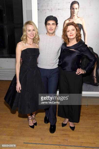 Naomi Watts Zac Posen and Susan Sarandon pose at the exhibition for the Zac Posen collection during New York Fashion Week The Shows on February 14...