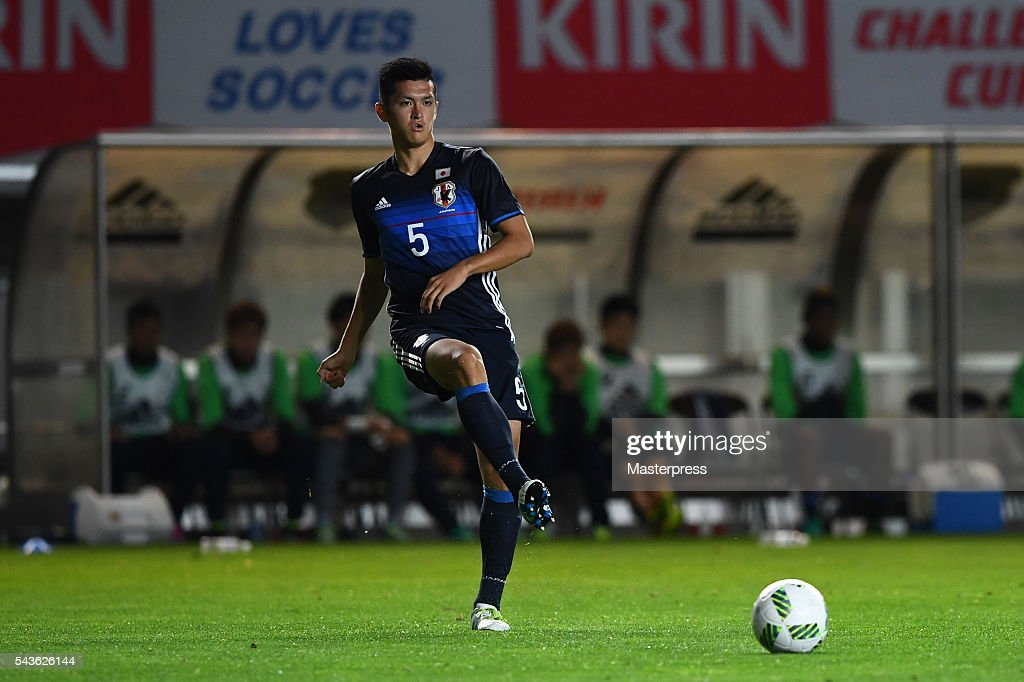 Naomichi Ueda of Japan in action during the U-23 international friendly match between Japan v South Africa at the Matsumotodaira Football Stadium on June 29, 2016 in Matsumoto, Nagano, Japan.