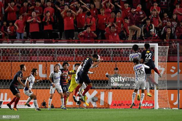 Naomichi Ueda of Kashima Antlers scores his side's second goal during the JLeague J1 match between Kashima Antlers and Gamba Osaka at Kashima Soccer...