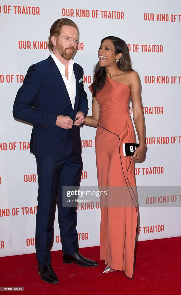 Naomie Harris and Damian Lewis arrive for the UK Gala of 'Our Kind Of Traitor' at The Washington Hotel on May 5, 2016 in London, England.