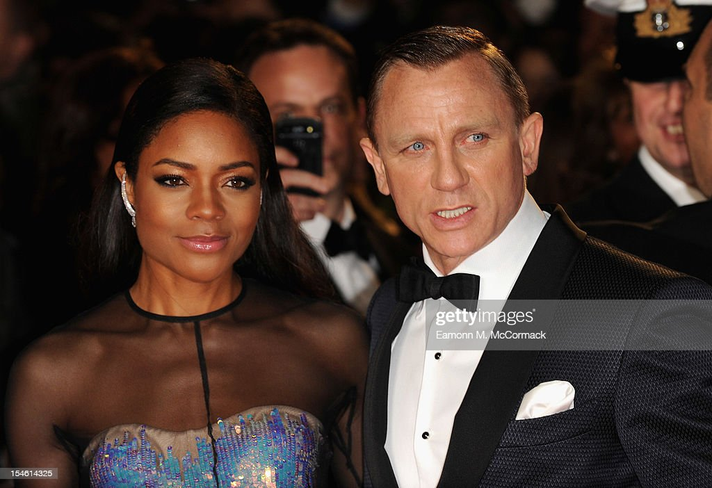 Naomie Harris and Daniel Craig attend the Royal World Premiere of 'Skyfall' at the Royal Albert Hall on October 23 2012 in London England