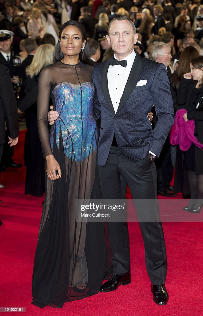 <a gi-track='captionPersonalityLinkClicked' href=/galleries/search?phrase=Naomie+Harris&family=editorial&specificpeople=238918 ng-click='$event.stopPropagation()'>Naomie Harris</a> and Daniel Craig attend the Royal World Premiere of 'Skyfall' at Royal Albert Hall on October 23, 2012 in London, England.