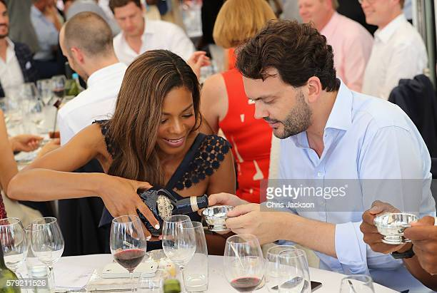 Naomie Harris and Peter Legler attend the Royal Salute Coronation Cup at Guards Polo Club on July 23 2016 in Egham England
